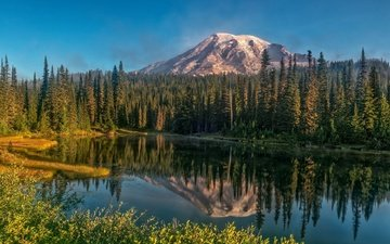 lake, mountains, nature, forest, reflection