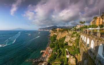 the sky, mountains, rocks, clouds, sea, horizon, yachts, panorama, coast, palm trees, home, italy, boats, sunny, amalfi, positano, sorrento