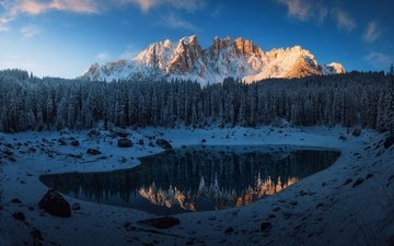 the sky, trees, mountains, snow, forest, reflection, italy, the dolomites