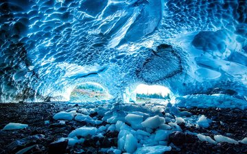 mountains, snow, winter, ice, cave, glacier