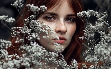 flowers, girl, look, model, face, sponge, freckles, bokeh, redhead, kassio. epia