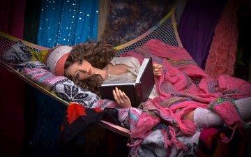 игрушка, кукла, волосы, лицо, гамак, книга