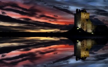 the sky, nature, sunset, horizon, castle, ireland, galway, dunguaire castle, dunguaire