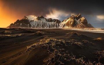 небо, облака, горы, исландия, auster-skaftafellssysla