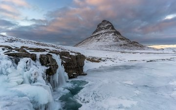 небо, облака, горы, снег, зима, водопад, лёд, исландия, киркьюфетль, kris williams, kirkjufellsfoss