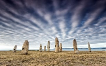 the sky, clouds, spain, galicia, corunna, menhires