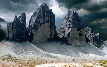 небо, горы, скалы, природа, италия, veneto, misurina