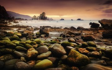 rocks, nature, stones, shore, sunset, sea, coast