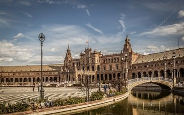 channel, palace, spain, area, bridges, seville, andalusia