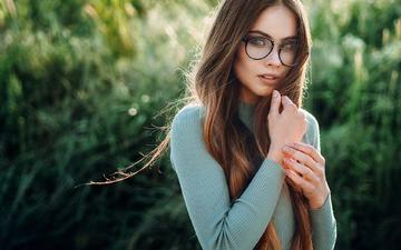 девушка, взгляд, очки, модель, волосы, лицо, katya, evgeny freyer