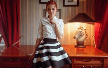 girl, look, skirt, model, hair, face, george chernyadev, katya