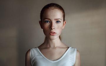 girl, portrait, look, hair, face, freckles, george chernyadev, katya