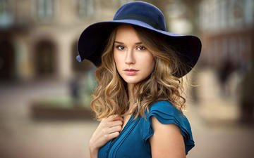 girl, background, dress, portrait, look, model, hair, face, makeup, hat, bokeh, claire, lods franck