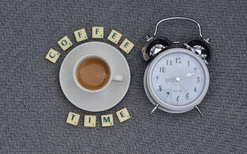 кофе, буквы, часы, блюдце, чашка, будильник