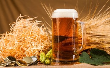 колосья, кружка, пиво, пена, хмель, пробки