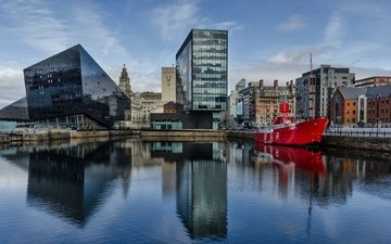 reflection, ship, home, england, port, liverpool