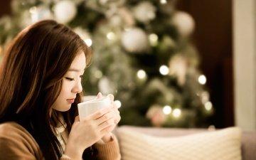 девушка, кофе, профиль, кружка, волосы, лицо, азиатка