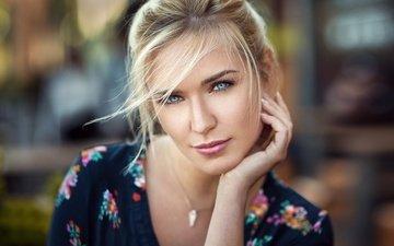 блондинка, портрет, взгляд, модель, губы, лицо, голубые глаза, lods franck, ева микульски