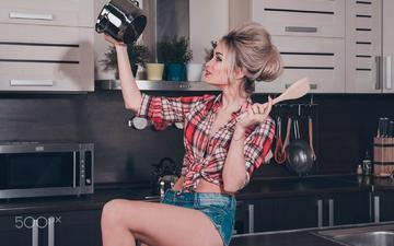 girl, pose, look, kitchen, hair, face, shirt, kristina, denim shorts, daria klepikova