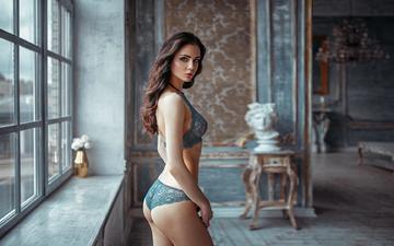 девушка, брюнетка, взгляд, модель, нижнее белье, kristina, георгий чернядьев, kristina nevskaya