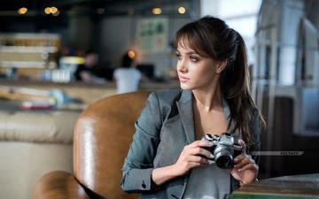 девушка, взгляд, фотоаппарат, волосы, лицо, дмитрий беляев, ксеня