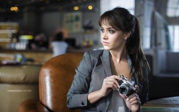девушка, взгляд, фотоаппарат, волосы, лицо, дмитрий беляев, ксеня, ksyusha