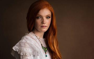 девушка, портрет, взгляд, волосы, лицо, веснушки, кувшинка, рыжеволосая, lisa holloway