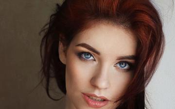 девушка, портрет, взгляд, волосы, губы, лицо, голубоглазая, лена, шон арчер