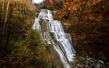 nature, stones, forest, rock, waterfall, autumn, france, cascade du herisson