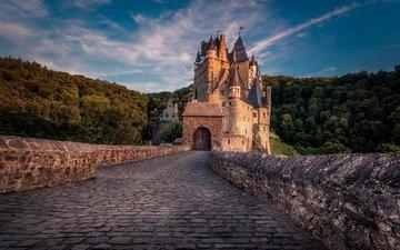 the sky, clouds, forest, sunset, castle, germany, burg eltz