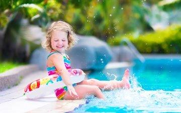 улыбка, лето, брызги, дети, радость, девочка, бассейн, ребенок