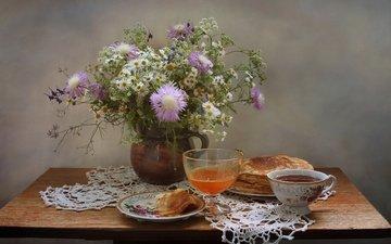 summer, tea, napkin, wildflowers, honey, pancakes, still life, osa