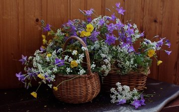summer, bells, wildflowers, still life, buttercups, basket, the aegopodium grass