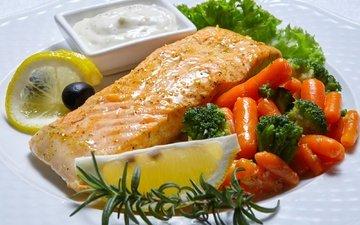 lemon, fish, carrots, sauce, olives, seafood, broccoli, salmon, rosemary