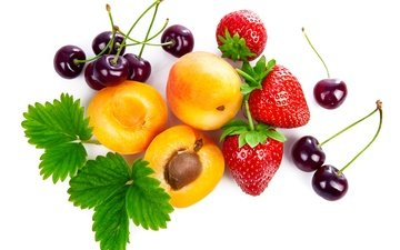leaves, berry, fruit, strawberry, white background, cherry, apricots, closeup