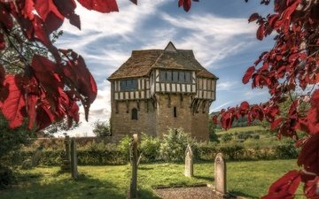 leaves, castle, autumn, england, stokesay castle, shropshire