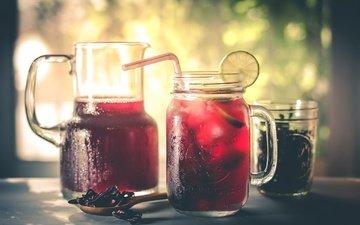 макро, фон, напиток, чай, кувшин, лимонад, фруктовый чай