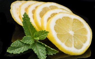 macro, fruit, lemon, black background, citrus