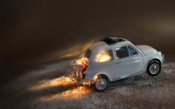 macro, fire, toy, machine, model, fiat 500
