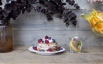 raspberry, food, berries, blueberries, cakes, pancakes, lemonade, cream