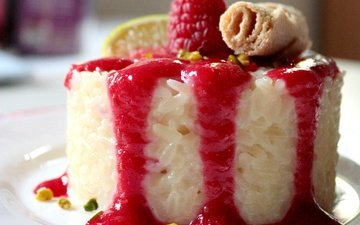 малина, ягода, апельсин, сладкое, десерт, пудинг