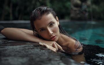 вода, девушка, взгляд, модель, лицо, мария, мокрые волосы, георгий чернядьев