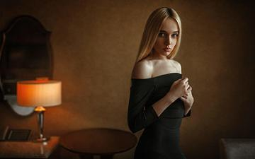 girl, dress, blonde, look, lamp, hair, face, black dress, masha, george chernyadev, bare shoulders