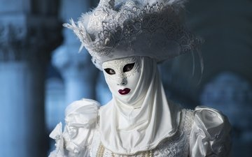 mask, white, costume, hat, carnival
