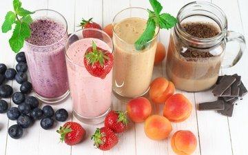 мята, фрукты, клубника, абрикос, ягоды, черника, шоколад, смузи, молочный коктейль