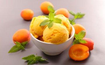 мята, мороженое, фрукты, абрикос, сладкое, десерт, абрикосы
