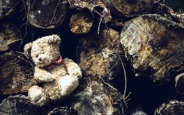 мишка, игрушка, бревна, плюшевый медведь