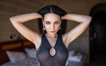 девушка, взгляд, модель, волосы, лицо, позирует, ангелина, ангелина петрова, denis petrov