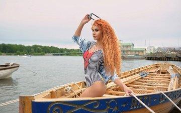 девушка, взгляд, рыжая, лодка, модель, лицо, купальник, позирует, в белье, солнцезащитные очки
