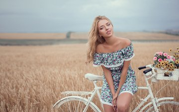 flowers, girl, blonde, model, posing, bike, neckline, wheat field, konstantin gerasimov
